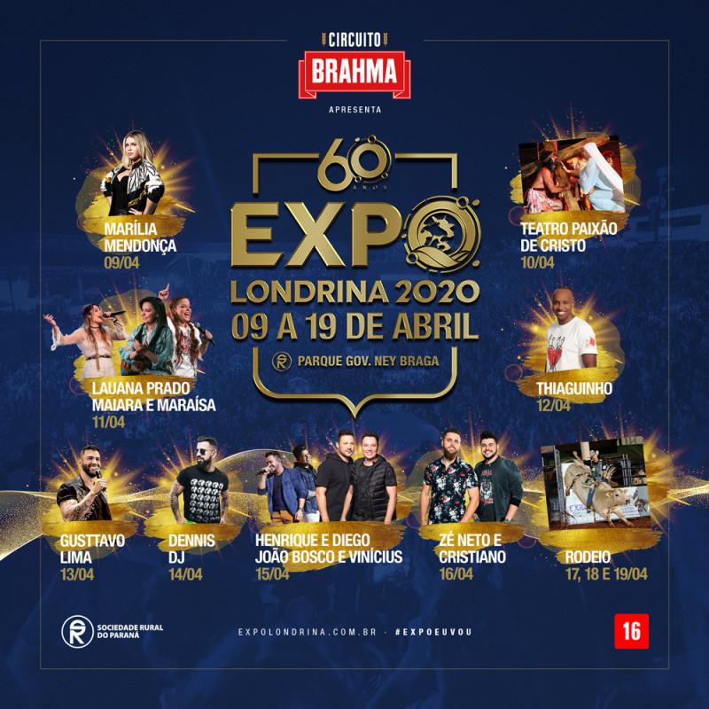 ExpoLondrina 2020 - confira a programação e grade de shows
