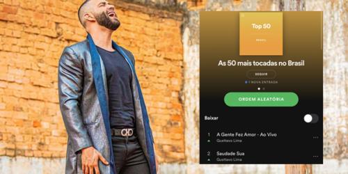 Gusttavo Lima assume topo do Top 50 do Spotify Brasil, com duas músicas