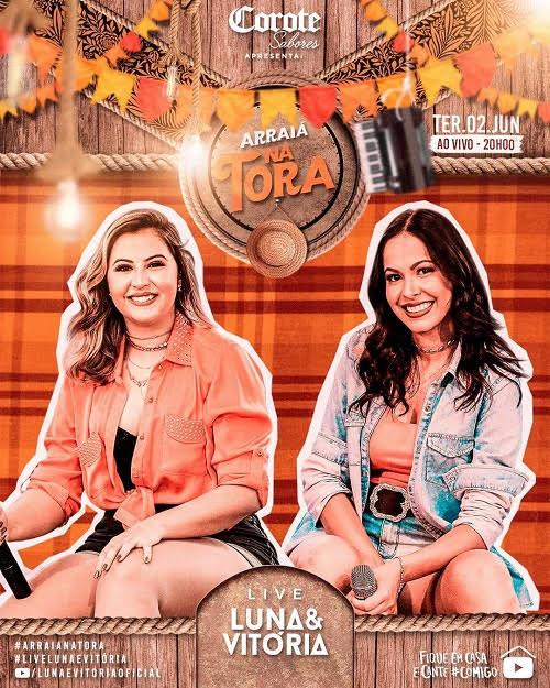 Luna e Vitória anunciam a live 'Arraiá Na Tora'